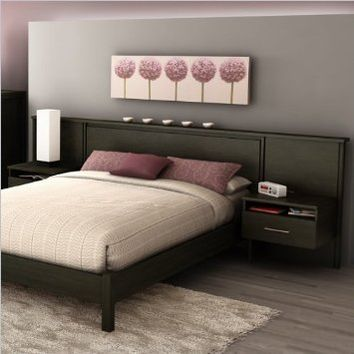 South Shore Gravity Collection Headboard Set (60''), Ebony, Queen