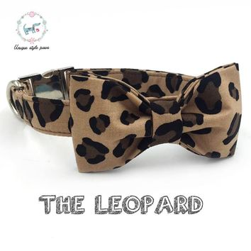 The leapard print dog collar  with bow tie  cotton fabric  dog &cat necklaceor dog leash  unique style paws