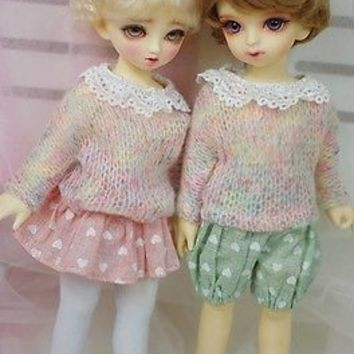+ASANO+ casual sweater set outfit bjd sd13 el dot MSD 1/4 1/6 doll use