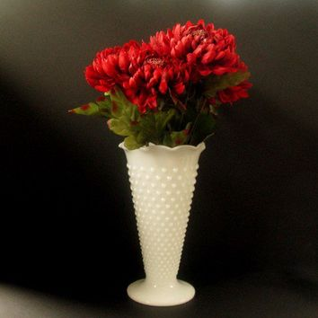 Vintage Vase - Large Hobnail Milk Glass Vase from Anchor Hocking