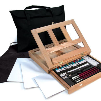 Watercolor Easel Art Set with Easy to Store Bag, Essential Art Supplies In Wooden Storage Box With Drawers For Convenience, Traveling Artist