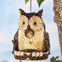 Carved Wood Look Owl Birdhouse & Feeder Realistic Features Feed Dish & Perch