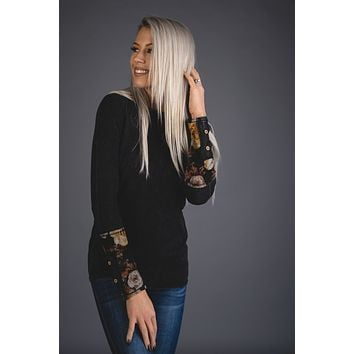 Mineral Black Top with Floral Cuff Sleeves (S-XL)