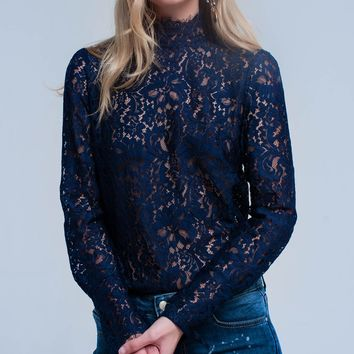 Navy transparent lace shirt