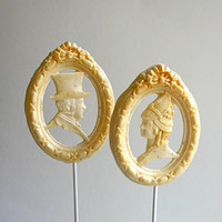 Hard Candy Lollipops Mr Darcy and Ms Lizzy by andiespecialtysweets