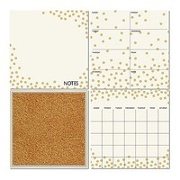 Dry-Erase 4-Piece Calendar/Weekly Planner/Notes Board/Cork Board Set in White/Gold Confetti