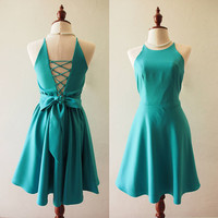 Jade Green Dress Jade Green Party Dress Gossip girl Style Retro Vintage Fashion Dress Bridesmaid Dress Backless Cross Rope Dress