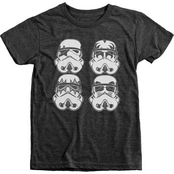 Star Wars Kiss Storm Troopers Boys Tri-blend T-shirt