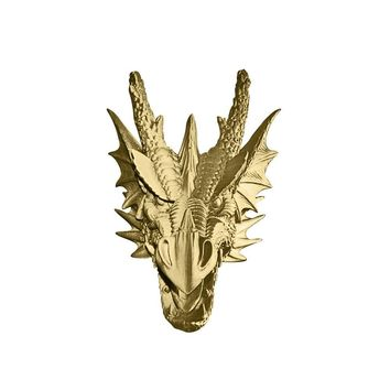 The Drogon | Large Dragon Head | Faux Taxidermy | Gold Resin