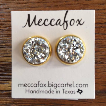 Mecca Fox Earrings- 12MM Silver Druzy in Gold Setting