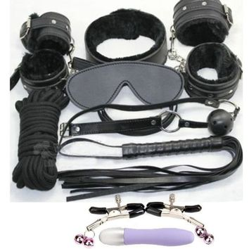 Eastern Delights® 9 Pcs Black Soft Fur Lined Leather Premium Restraint Kits Fetish SM Bondage Wear Devices Flirting Toy Locking Ankle Cuffs Slave Collar and Leash Heavy Duty Handcuffs Flogger Eyemask Rope Vibrating Discreet Mini Av Massager