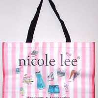 """Nicole Lee Hollywood Tote Bag Pink White Stripes Polka Dots Lightweight 21"""""""