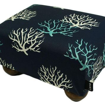 Coral Reef Upholstered Fabric Footstool Ottoman