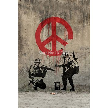Banksy Peace Art Graffiti Canvas Silk Poster Home decoration