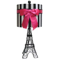 Black Eiffel Tower Lamp with Stripe Shade | Hobby Lobby | 567511