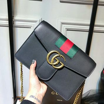 Gucci Trending Women Shopping Bag Stripe Leather Metal Chain Crossbody Satchel Shoulder Bag Black I-AGG-CZDL