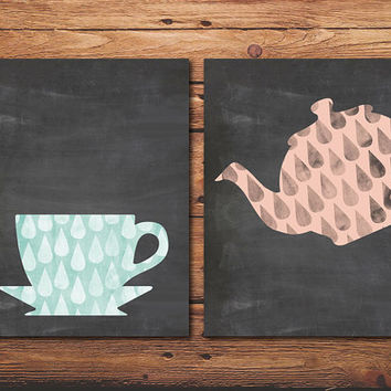 Teatime Poster Set of 2, Kitchen Print, illustration, Chalkboard, Art Print, Raindrop, Watercolor, Printable Wall Art, Home Decor
