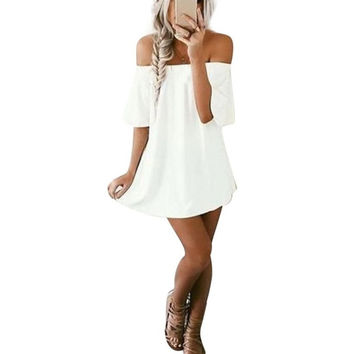 Style White Dress Women Off Shoulder Short Sleeve Dresses Solide Mini Casual Loose Dress Vestidos mujer #43 BL