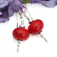 Christmas Red and Silver Icicle Earrings, Lampwork Sterling Artisan Dangle Jewelry