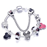 2018 Mickey And Minnie Charm Bracelet For Girls Fit Pandora Bracelet Women Christmas gift Dropshipping