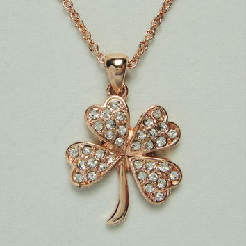 Rose Gold Diamond Four Leaf, Lucky Clover Necklace, Bridesmaid Jewelries, Personalized Anniversary Friendship Graduation Birthday Gift