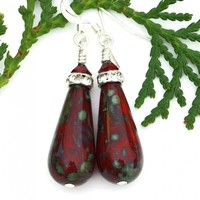 Ruby Red Teardrop Earrings, Czech Glass Crystal Christmas Jewelry Gift