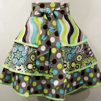 Woman's Half Apron--3 Tier-Green and Gray-Made in the Usa--#129--READY TO SHIP