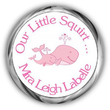 Pink Whales Baby Shower Kisses Stickers