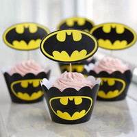 Batman Halloween Type Bulk 24pcs/lot Muffin Cupcake Decoration Cupcake Liners/Cases/Wrappers = 1928027204