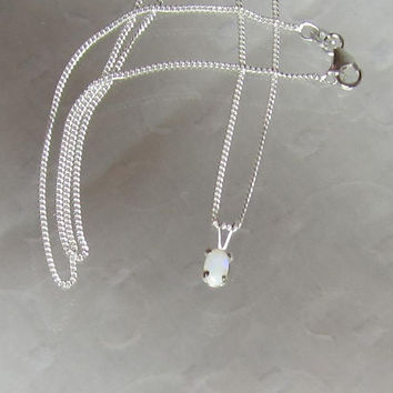 """Natural Australian Opal Set In Anti-Tarnish Sterling Silver Filled 18"""" Necklace"""