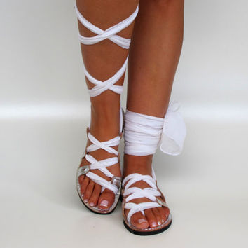 "Silver Leather Sandals, Unique design, with silk scarf straps. Ideal bridal shoes  ""APHRODITE"" AS24"