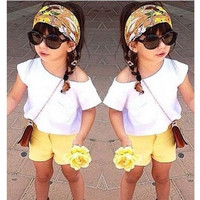 Girls Summer 2 PC White Top and Yellow Shorts