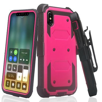 Apple iPhone XS Max Case, Apple A1921 Case,  Triple Protection 3-1 w/ Built in Screen Protector Heavy Duty Holster Shell Combo Case - Hot Pink
