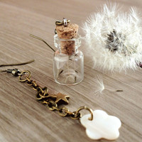 Dandelion Earrings Make a wish Asymmetrical bronze by KandyDisenos
