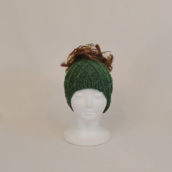 Green Ponytail Hat, Knit Wide Headband Beanie, Honeycomb Runner's Ear Muffs Hat with a Hole