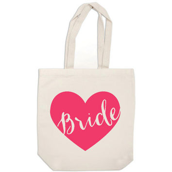 hot pink bride gift canvas tote bag heart bride bag - wedding calligraphy bride tote bag purse