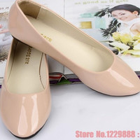 size 35-41 new arrival women flats Korean candy color flat shoes woman casual ballet flats patent leather women shoes [7901705735]