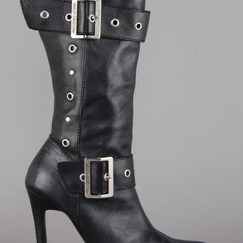 Harley Davidson Studded Heeled Leather Boots