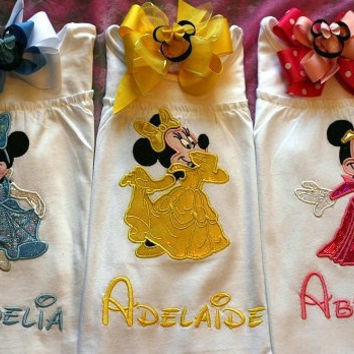 2 piece Combo set Custom Made to order Personalized Princess Minnie Mouse Shirt and Mouse head Hairbow Combo  You pick  the Princess