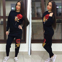 Rose Sequins Women Tracksuits Sport Suits Set 2016 Women Fashion Sets Ensemble Jogging Femme Plus Size Women Sets Hoodies T001
