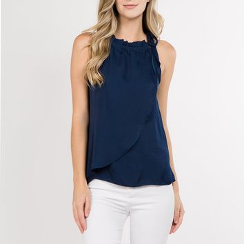 Neck Tie Layered Top in Navy