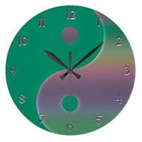 Green and Muted Rainbow Yin Yang Clock