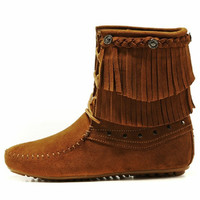 Women's  Leather  Moccasin Flat Ankle Boots