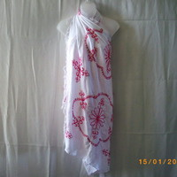 White rayon sarong with hot pink embroidery and silvery sequins - Skirts
