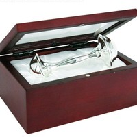"Stephan Baby Satin-Lined Rosewood Keepsake Box with 4"" Silver Plated Keepsake Rattle"