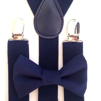 Navy blue Suspenders + navy blue  bow tie SET toddler baby kids boy boys fits 6 months to 13 years old