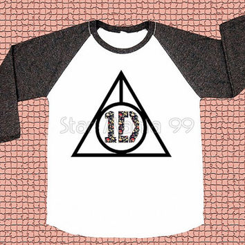 Flower One Direction TShirt 1D Shirt Deathly Hallows TShirt Long Sleeve Shirt Women TShirt Unisex TShirt Baseball Tee Shirt Size S,M,L