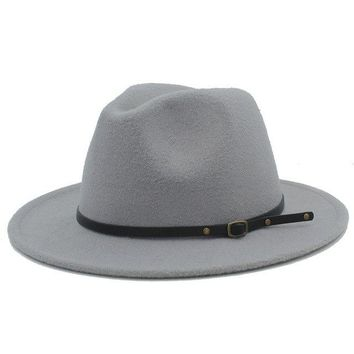 Wool Fedora Hat - Light Grey
