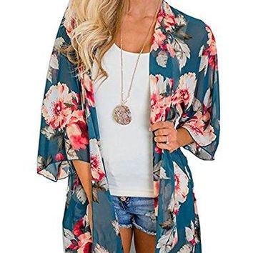 Womens Floral Kimono Cardigan Casual Loose Sleeve Boho Lace Cover up Blouses Top