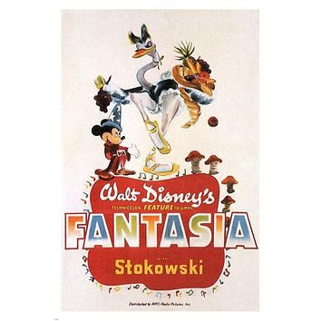 WALT DISNEY'S FANTASIA movie POSTER wild FUN cartoon 1940 ANIMATED 24X36